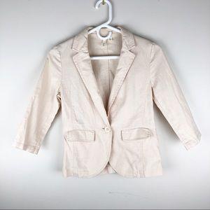 Frenchi Blush Linen Jacket Blazer 3/4 Sleeve